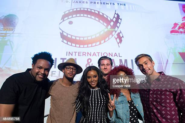 Jawn Murray Romeo Miller Angela Simmons Luke Benward Porscha Coleman and Austin North pose after the MegaFest Millennial Panel at The Omni Hotel...