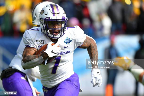 Jawon Hamilton of the James Madison Dukes rushes against the North Dakota State Bison during the Division I FCS Football Championship held at Toyota...