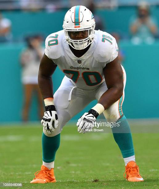 Ja'Wuan James of the Miami Dolphins in action against the Chicago Bears at Hard Rock Stadium on October 14 2018 in Miami Florida