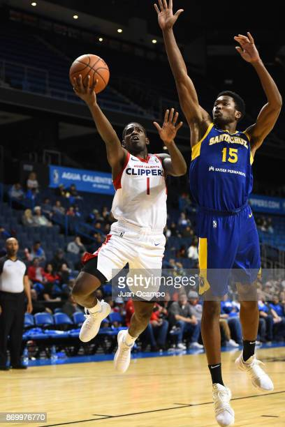 Jawun Evans of the Agua Caliente Warriors goes for a lay up against the Santa Cruz Warriors during the NBA GLeague on November 3 2017 at Citizens...