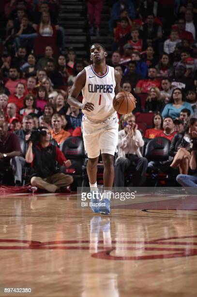 Jawun Evans of the LA Clippers dribbles the ball down court against the Houston Rockets on December 22 2017 at the Toyota Center in Houston Texas...