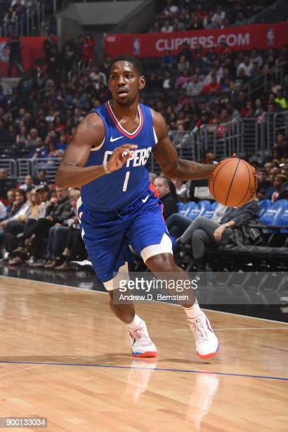 Jawun Evans of the LA Clippers drives to the basket against the Charlotte Hornets on December 31 2017 at STAPLES Center in Los Angeles California...