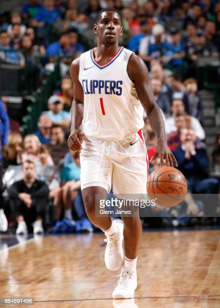 Jawun Evans of the LA Clippers handles the ball against the Dallas Mavericks on December 2 2017 at the American Airlines Center in Dallas Texas NOTE...