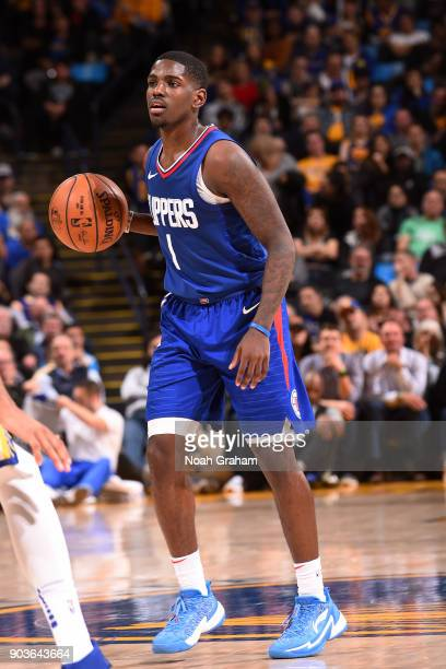 Jawun Evans of the LA Clippers handles the ball against the Golden State Warriors on January 10 2018 at ORACLE Arena in Oakland California NOTE TO...