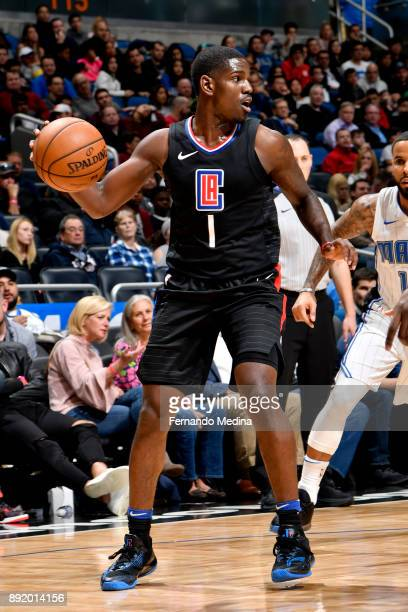 Jawun Evans of the LA Clippers handles the ball against the Orlando Magic on December 13 2017 at Amway Center in Orlando Florida NOTE TO USER User...