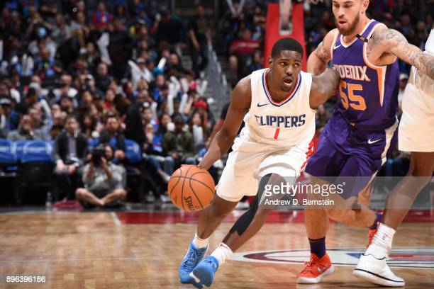 Jawun Evans of the LA Clippers handles the ball against the Phoenix Suns on December 20 2017 at STAPLES Center in Los Angeles California NOTE TO USER...
