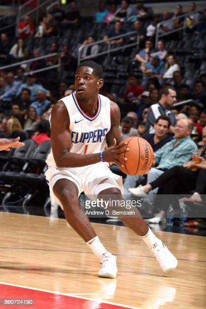 Jawun Evans of the LA Clippers handles the ball against the Sacramento Kings on October 12 2017 at STAPLES Center in Los Angeles California NOTE TO...