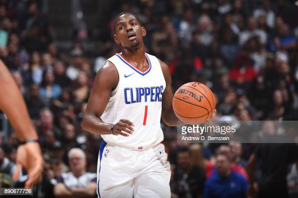 Jawun Evans of the LA Clippers handles the ball against the Toronto Raptors on December 11 2017 at STAPLES Center in Los Angeles California NOTE TO...