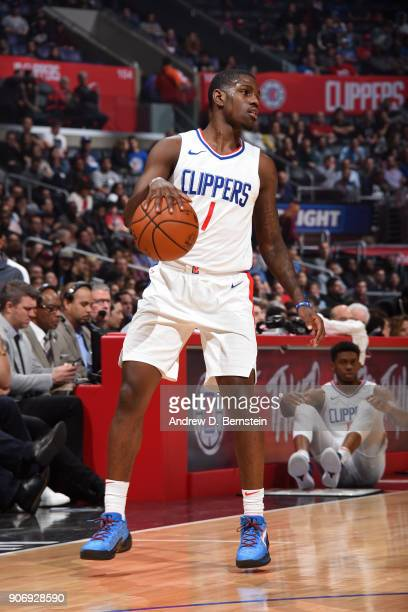 Jawun Evans of the LA Clippers handles the ball during the game against the Denver Nuggets on January 17 2018 at STAPLES Center in Los Angeles...