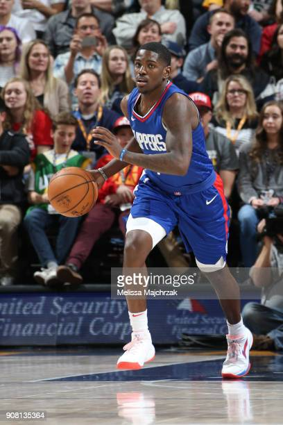 Jawun Evans of the LA Clippers handles the ball during the game against the Utah Jazz on January 20 2018 at Vivint Smart Home Arena in Salt Lake City...