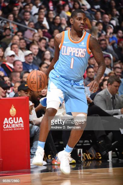 Jawun Evans of the LA Clippers handles the ball during the game against the Portland Trail Blazers on March 18 2018 at STAPLES Center in Los Angeles...