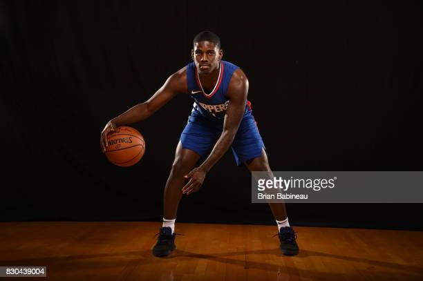 Jawun Evans of the LA Clippers poses for a photo during the 2017 NBA Rookie Photo Shoot at MSG training center on August 11 2017 in Tarrytown New...