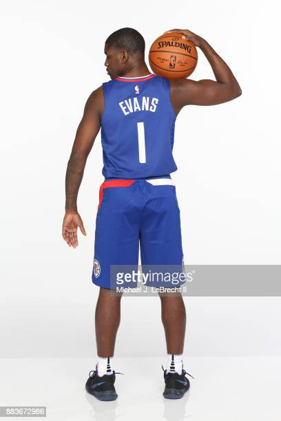 Jawun Evans of the LA Clippers poses for a photo during the 2017 NBA Rookie Shoot on August 11 2017 at the Madison Square Garden Training Center in...