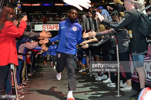 Jawun Evans of the LA Clippers runs to the court before the game against the Minnesota Timberwolves on December 6 2017 at STAPLES Center in Los...