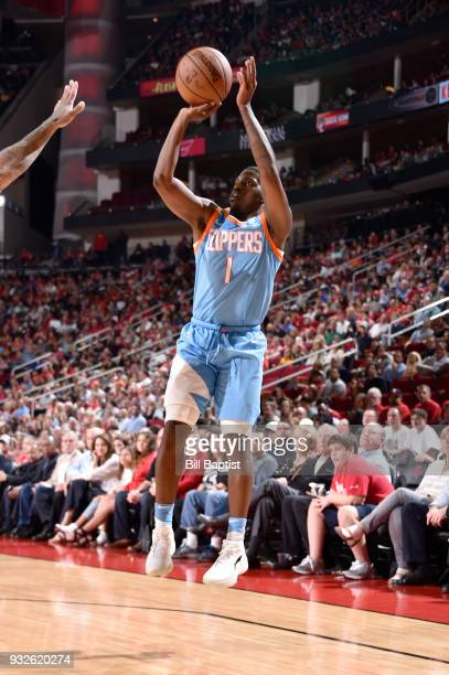 Jawun Evans of the LA Clippers shoots the ball against the Houston Rockets on March 15 2018 at the Toyota Center in Houston Texas NOTE TO USER User...