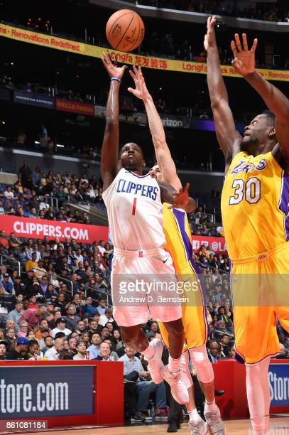 Jawun Evans of the LA Clippers shoots the ball against the Los Angeles Lakers on October 13 2017 at STAPLES Center in Los Angeles California NOTE TO...