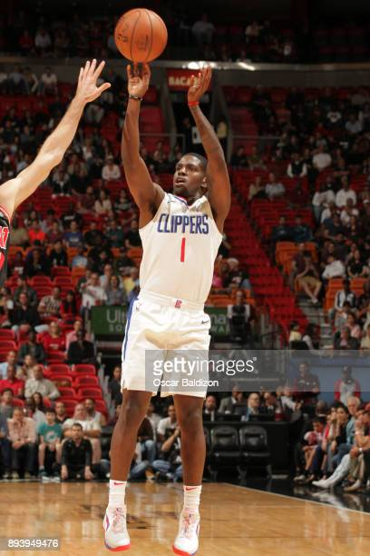 Jawun Evans of the LA Clippers shoots the ball against the Miami Heat on December 16 2017 at American Airlines Arena in Miami Florida NOTE TO USER...