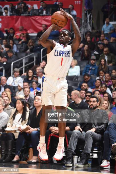 Jawun Evans of the LA Clippers shoots the ball against the Minnesota Timberwolves on December 6 2017 at STAPLES Center in Los Angeles California NOTE...