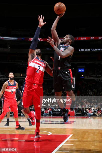 Jawun Evans of the LA Clippers shoots the ball during the game against the Washington Wizards on December 15 2017 at Capital One Arena in Washington...
