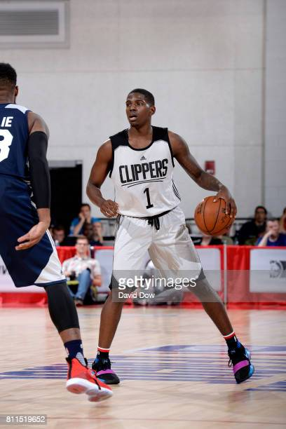 Jawun Evans of the Los Angeles Clippers handles the ball during the game against the Utah Jazz during the 2017 Las Vegas Summer League on July 9 2017...