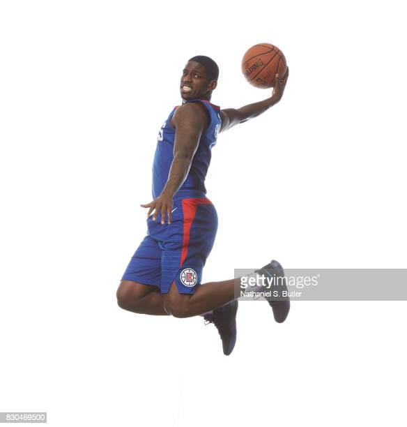 Jawun Evans of the Los Angeles Clippers poses for a photo during the 2017 NBA Rookie Shoot on August 11 2017 at the Madison Square Garden Training...
