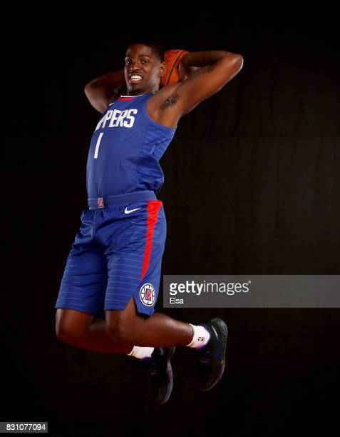 Jawun Evans of the Los Angeles Clippers poses for a portrait during the 2017 NBA Rookie Photo Shoot at MSG Training Center on August 11 2017 in...