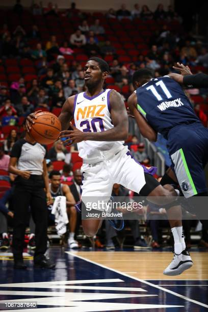 Jawun Evans of the Northern Arizona Suns attempts to keep the ball inbounds against the Iowa Wolves in an NBA GLeague game on December 1 2018 at the...
