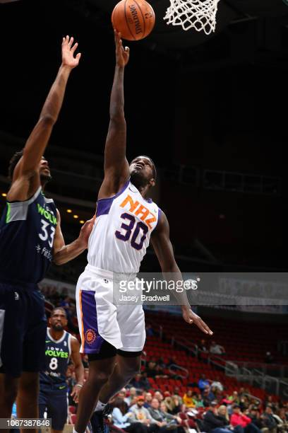 Jawun Evans of the Northern Arizona Suns goes up for a shot against Keita BatesDiop of the Iowa Wolves in an NBA GLeague game on December 1 2018 at...