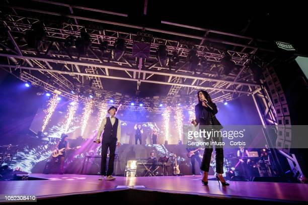 Ax and Paola Turci perform on stage at Fabrique Club on October 16 2018 in Milan Italy