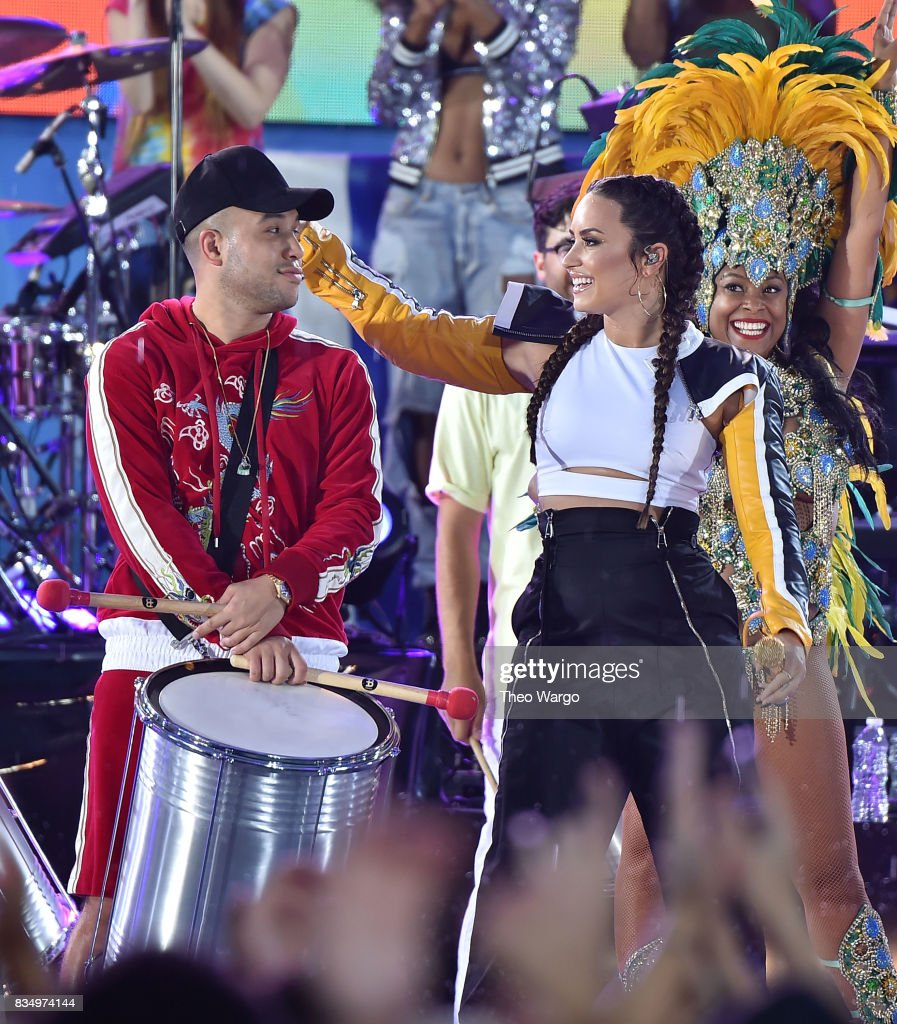 Jax Jones and Demi Lovato Perform On ABC's 'Good Morning America' at Rumsey Playfield on August 18, 2017 in New York City.
