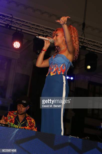 Jax Jones and Raye attend the Universal Music BRIT Awards AfterParty 2018 hosted by Soho House and Bacardi at The Ned on February 21 2018 in London...