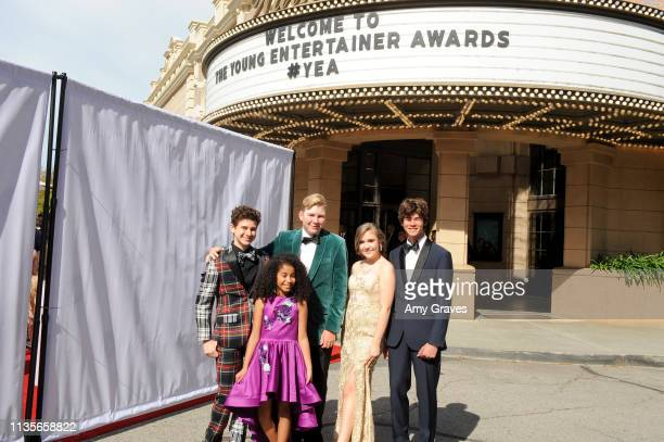 Jax Malcolm Connor Dean Alyssa de Boisblanc Chase Mangum and Jordyn Curet attend the 2019 Young Entertainer Awards at Steven J Ross Theatre on the...