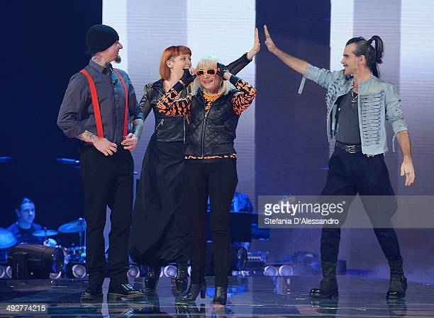 Ax Noemi Raffaella Carra and Piero Pelu attend 'The Voice Of Italy' TV Show on May 21 2014 in Milan Italy