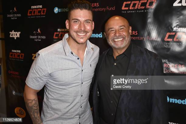 Jax Taylor and Grant Fuhr attend the Premiere Of Making Coco The Grant Fuhr Story at Desert Dunes Golf Club on March 9 2019 in Desert Hot Springs...