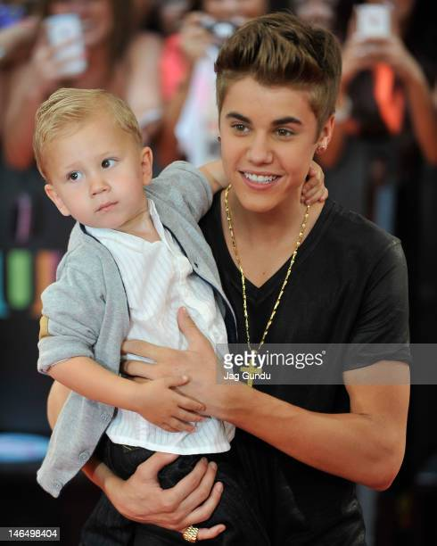 Jaxon Bieber and Justin Bieber arrive at the 2012 MuchMusic Video Awards at MuchMusic HQ on June 17 2012 in Toronto Canada