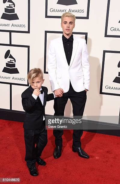 Jaxon Bieber and recording artist Justin Bieber attend The 58th GRAMMY Awards at Staples Center on February 15, 2016 in Los Angeles, California.