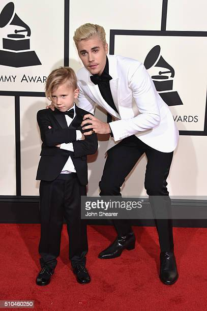 Jaxon Bieber and recording artist Justin Bieber attend The 58th GRAMMY Awards at Staples Center on February 15 2016 in Los Angeles California