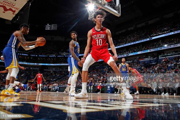 Jaxson Hayes of the New Orleans Pelicans celebrates after a dunk against the Golden State Warriors on October 28, 2019 at the Smoothie King Center in...