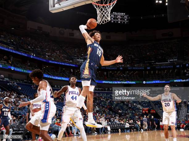 Jaxson Hayes of the New Orleans Pelicans drives to the basket against the Philadelphia 76ers on October 20, 2021 at the Smoothie King Center in New...