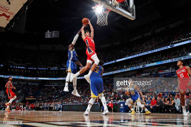 Jaxson Hayes of the New Orleans Pelicans dunks the ball against the Golden State Warriors on October 28, 2019 at the Smoothie King Center in New...