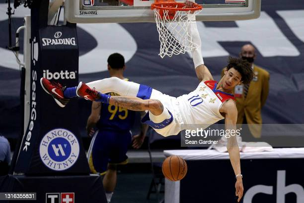 Jaxson Hayes of the New Orleans Pelicans dunks the ball during the first quarter of an NBA game against the Golden State Warriors at Smoothie King...