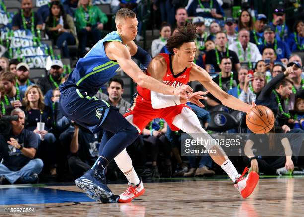 Jaxson Hayes of the New Orleans Pelicans goes for the ball against the Dallas Mavericks on December 07 2019 at the American Airlines Center in Dallas...