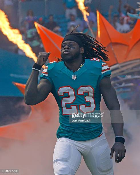 Jay Ajayi of the Miami Dolphins is introduced prior to the game against the Buffalo Bills on October 23 2016 at Hard Rock Stadium in Miami Gardens...