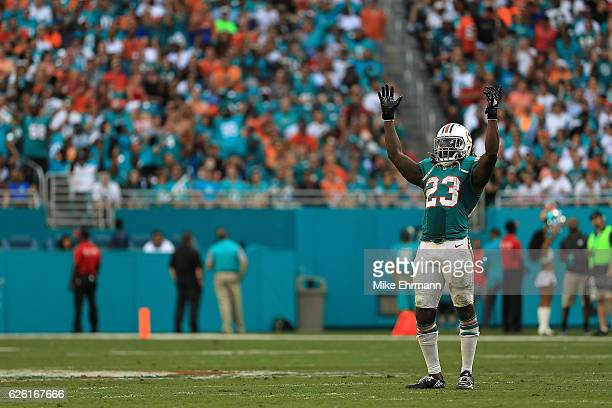 Jay Ajayi of the Miami Dolphins reacts to a play during a game against the San Francisco 49ers on November 27 2016 in Miami Gardens Florida