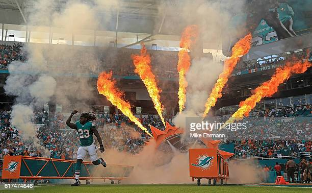 Jay Ajayi of the Miami Dolphins takes the field during a game against the Buffalo Bills on October 23 2016 in Miami Gardens Florida