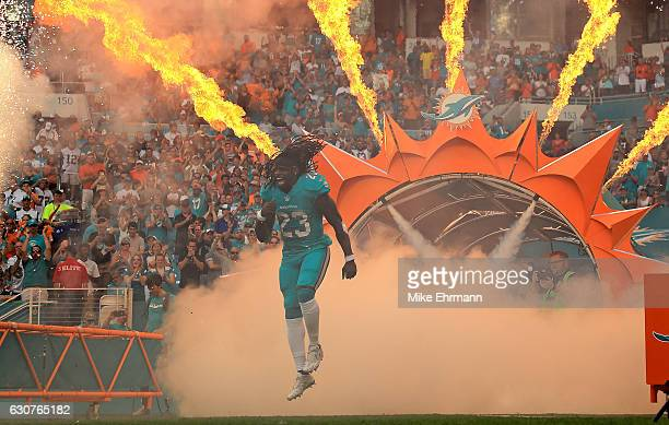 Jay Ajayi of the Miami Dolphins takes the field during a game against the New England Patriots at Hard Rock Stadium on January 1 2017 in Miami...