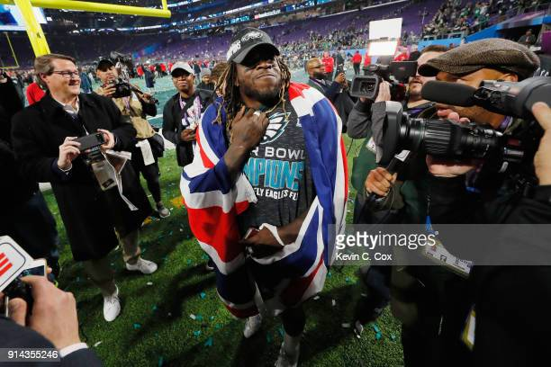 Jay Ajayi of the Philadelphia Eagles celebrates his teams 4133 victory over the New England Patriots in Super Bowl LII at US Bank Stadium on February...