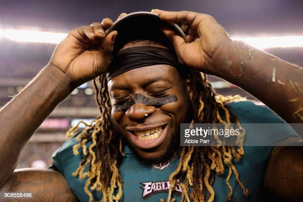Jay Ajayi of the Philadelphia Eagles celebrates his teams win in the NFC Championship game against the Minnesota Vikings at Lincoln Financial Field...