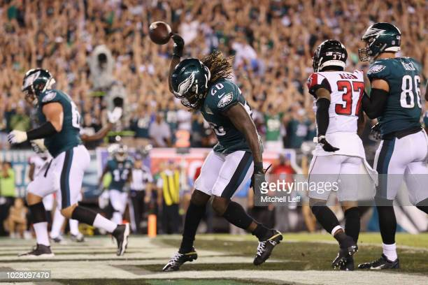 Jay Ajayi of the Philadelphia Eagles celebrates rushing for a 1yard touchdown during the third quarter against the Atlanta Falcons at Lincoln...