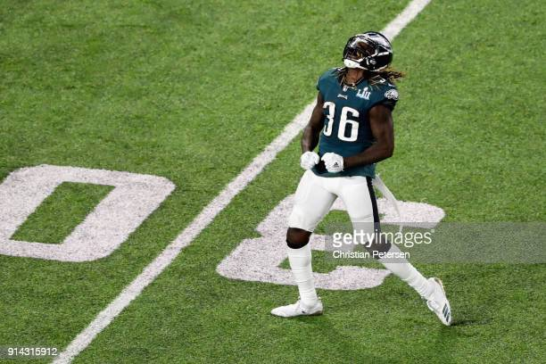 Jay Ajayi of the Philadelphia Eagles celebrates the play during the second quarter against the New England Patriots in Super Bowl LII at US Bank...